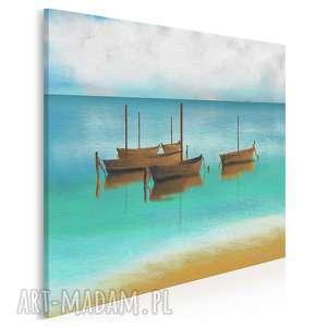 obraz na płótnie - łodzie pejzaż morze modny w kwadracie 80x80