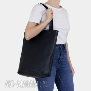 hairoo shopper xl prosta torba czarna na zamek / vegan, czarna