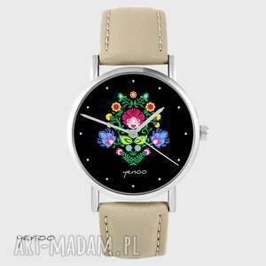Zegarek yenoo - folkowy czarny beżowy, skórzany zegarki zegarek