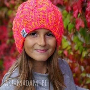ręcznie wykonane czapki czapka smile kids fluo