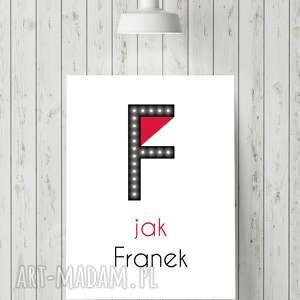 hand-made pokoik dziecka świecąca litera f z imieniem prezent lampka obraz