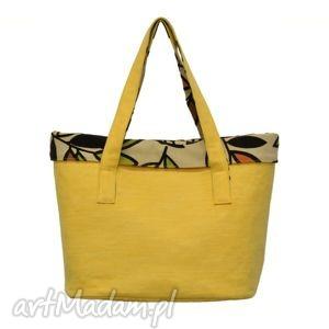 na zakupy 15-0004 żółta torba damska do ręki shopper bag - co dzień woodpecker
