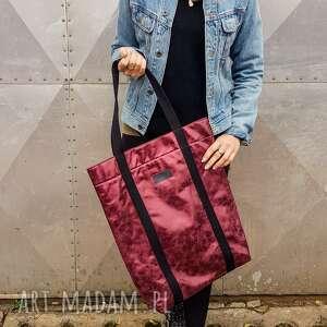 handmade na ramię shopperka burgund metaliczna