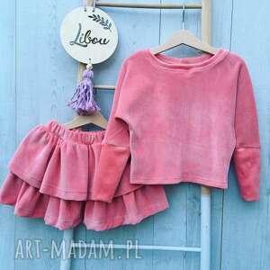 różowy zestaw nati welur spódniczka i bluzka, zestaw, dla dziewczynki