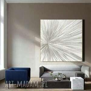 biało szara iluzja - obraz na płótnie, sztuka strukturalna
