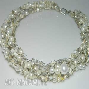 perłowa kolia - perła, kolia, naszyjinik, perłowa, sieczka, ślub