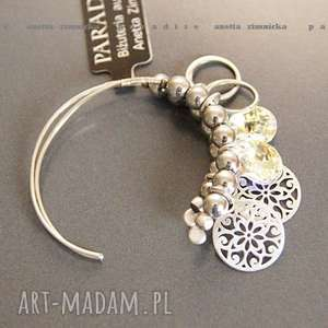 srebro, kolczyki - swarovski crystal ab w srebrze, swarovski, koła, zawieszki, srebro