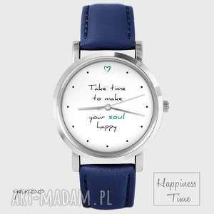 zegarek - make your soul happy skórzany, granatowy, zegarek, pasek