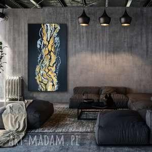 - czarny piasek xl abstrakcyjny obraz ręcznie malowany 140x80 cm, do salonu