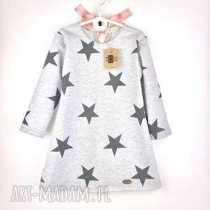 Sukienka dresowa Star z pudrową kokardą, dresowa, gwiazdy, gwiazdki, kokarda