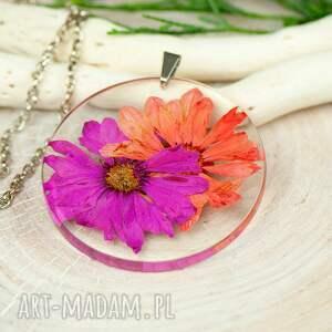 naszyjniki naszyjnik z prawdziwymi kwiatami zatopionymi w żywicy z332