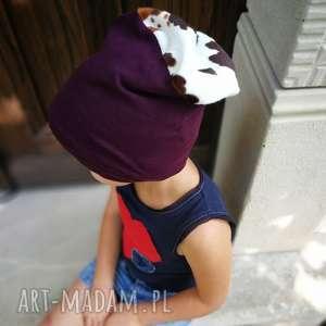 ruda klara czapka dziecięca bordo z górą łaciatą, czapka, etno, boho, krowa