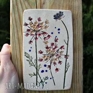 obrazek ceramiczny dzika marchew, obrazek, kwiaty polne, recznie malowane