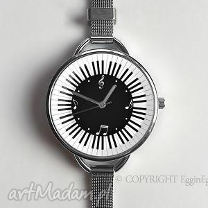 muzyczny czas - zegarek z dużą tarczką 0926ws - muzyka, nuty, zegarek