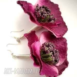 kolczyki kwiaty duże fiolet, kolczyki, etno, duże, kwiaty, kolorowa