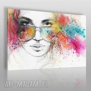 obrazy obraz na płótnie - kobieta okulary 120x80 cm 39301, okulary, piercing
