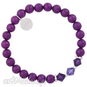 hand made dla dziecka fioletowa bransoletka jadeit z kryształami swarovski® elements i srebrnem