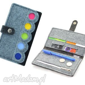 portfele portfel filcowy z kolorowymi kropkami- midi, portfel, filc, portmonetka