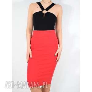 spódnice czerwona spódnica tuba, spódnica, dzianinowa, uniwersalna, wiosenna