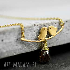 ♥ Uczucie ♥ Pozłacany łańcuszek z kwarcem - ,ptak,ptaki,para,kwarc,pozłacany,łańcuszek,