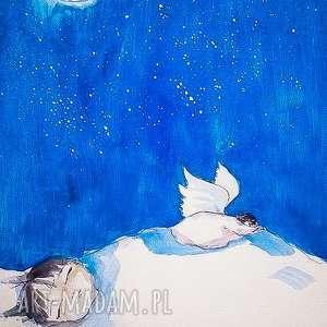 śpiąca słodycz akwarela artystki plastyka adriany laube, akwarela, aniołek, sen
