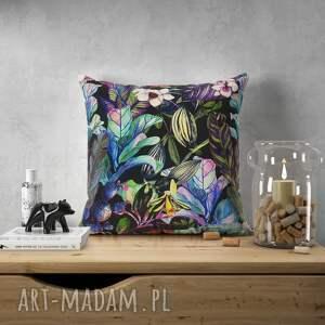 poduszki welurowa poduszka w dzikie kwiaty, welur, tkanina tapicerska, orchidea