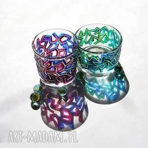 fosforowe runy świecznik, świeczniki, fosfor, runy, szkło, kolorowe, malowane