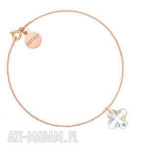 bransoletka z różowego złota opalizującym kryształem swarovski crystal