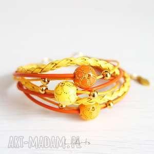 Bransoletka - żółta, pomarańczowa złota, koraliki liliarts