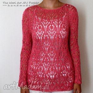 ażurowy sweterk na zamówienie p danuta, sweterek, ażur, koralowy, delikatny