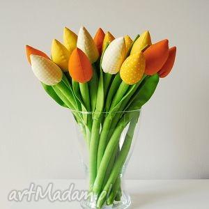 Prezent Bukiet bawełnianych tulipanów, tulipany, dekoracje, szyte, kwiaty, bukiet