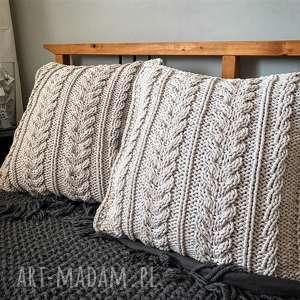 KOMPLET Poduszki duże 60 x warkocze, poduszkadziergana, poduszkahandmade