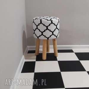 Pufa Koniczyna Maroco Biało - Czarna 2 45 cm , puf, taboret, hocker, vintage