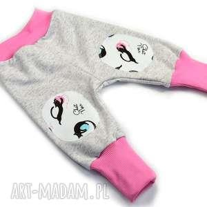 56-116 koty szare spodnie bawełniane dla dziewczynki, dresowe, haremki
