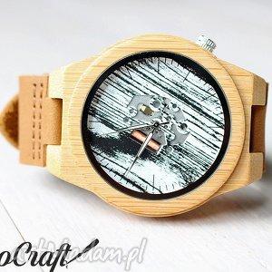 Prezent Drewniany zegarek z bambusa widocznym mechanizmem, zegarek, drewniany