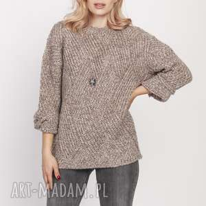swetry luźny sweterek, swe192 mocca mkm, luźny, sweter, pulower, jesień, dopracy