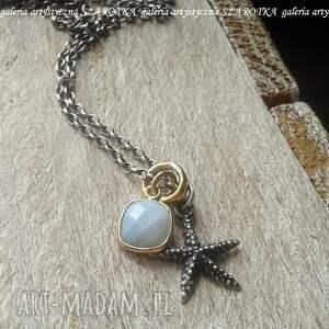 morza szum naszyjnik z opala i srebra, opal, srebro oksydowane, srebro pozłacane