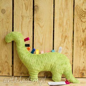 zielony mięciutki dinozaur - minky z bawełną zielone żyrafki, dinozaur, maskotka