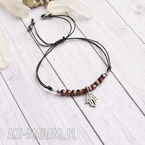 amulet - granat hamsa - odwaga, ochrona, ochronna, ochronna bransoletka