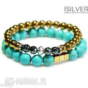 biżuteria złoty hematyt bransoletka, gumce, prezent, autorska, bernaś