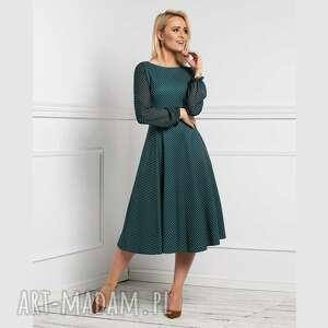 sukienka aniela total midi romina grochy drobne, w grochy