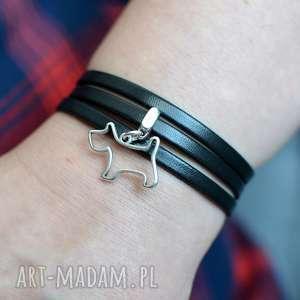 ręcznie robione bransoletka skórzana magnetoos triple doggy czarna
