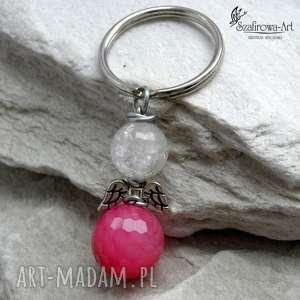Prezent Anioł Agat z kryształem - róż, brelok, agat, anioł, klucze, prezent