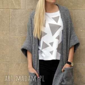 T-SHIRT - KOSZULKA TRIANGLE MESS GREY, biała, koszulka, t-shirt, bawełna, trójkąty