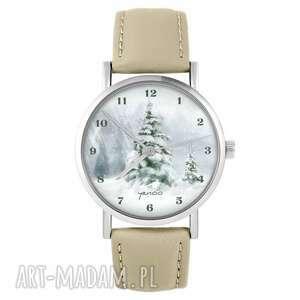 zegarek - zimowy, świąteczny, choinka beżowy, skórzany, zegarek, skórzany