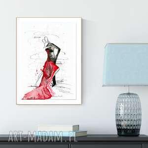 grafika 30x40 cm wykonana ręcznie, czerwone tango, obrazy-do-salonu