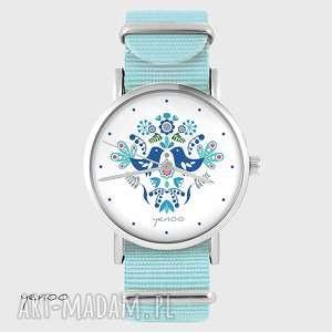 zegarek, bransoletka - folkowe ptaszki niebieski, nato