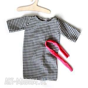 Sukienka w pepitkę / outfit dla lalki., lalka, szmacianka, szafa, outfit, kot