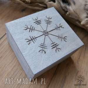 ręcznie malowane drewniane pudełko aegishjalmur - srebrne - wiking, wikingowie