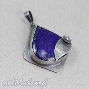 Lapis lazuli i srebro - wisior, lapis, lazuli, srebro, liść, zawieszka